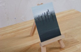 Abstract aceo acrylic painting The Langoliers