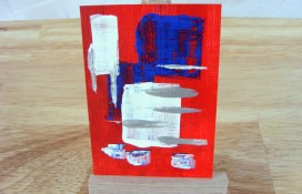 Abstract aceo art blue red and white