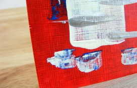 Aceo acrylic art in red white and blue