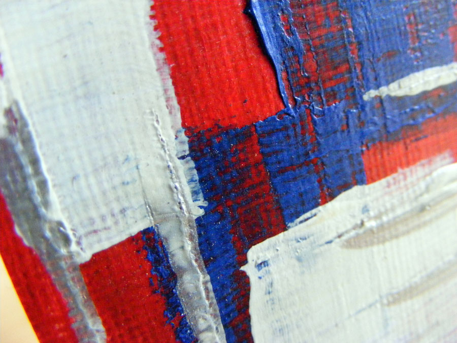 Blue Red And White Miniature Painting In Acrylic Paints