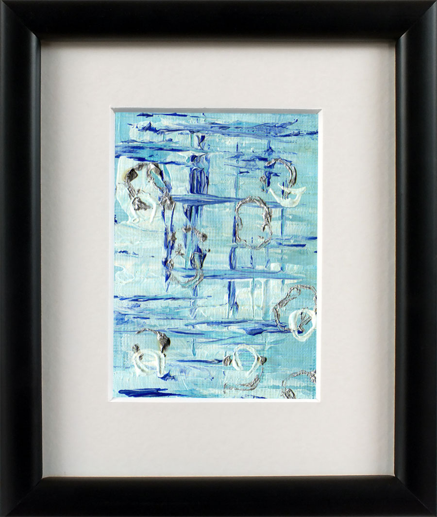 Miniature Abstract Painting Blue White and Silver Art