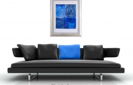 Blue, white purple framed abstract art