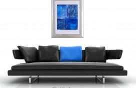 Blue, white purple framed abstract art