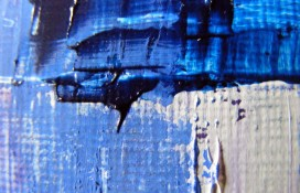Abstract art in blue purple and white