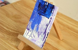 Miniature abstract acrylic painting