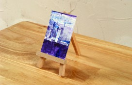 Abstract aceo blue, white and purple on canvas