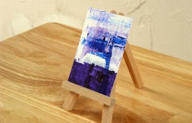 Original abstract art in white, blue and purple