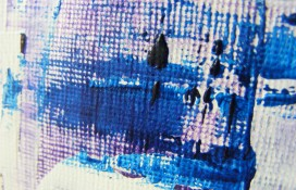 Miniature abstract painting in acrylics