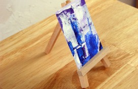 Abstract aceo art purple, blue and white