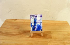 Abstract aceo art purple and white