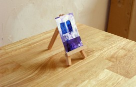 Purple,blue and white miniature painting on canvas