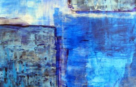 Figurative abstract in blue and purple