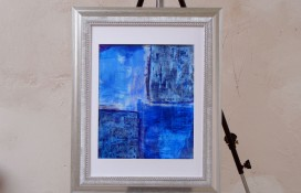 Crystal Synergy blue, white violet abstract art