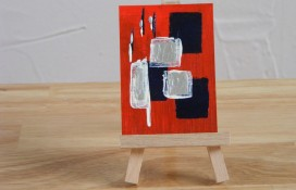 Abstract aceo painting in blue,white and silver