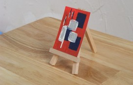 Acrylic abstract aceo art blue, red and silver