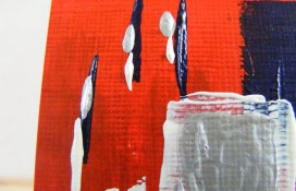 Miniature abstract painting in red,white and blue