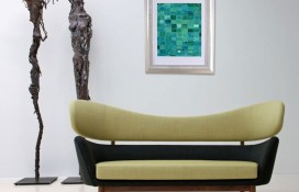 geometric abstract art green and blue