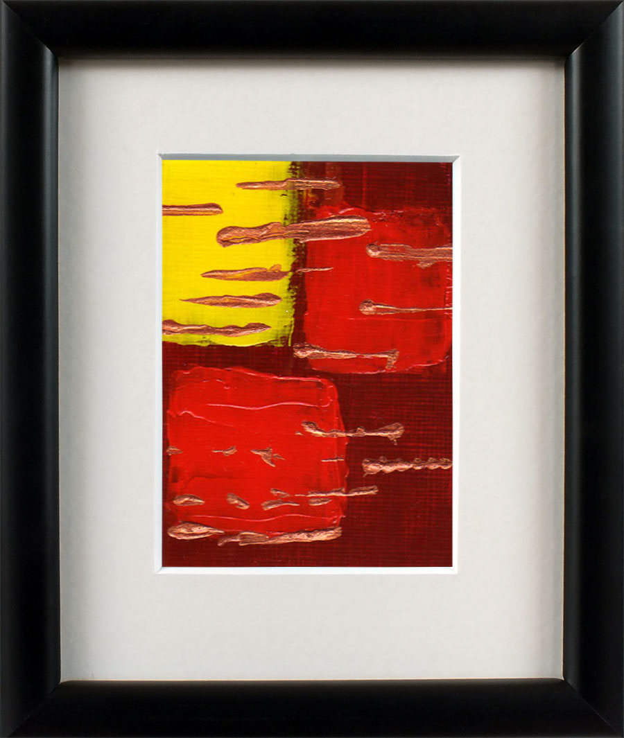 Dark Red Rich Orange and Yellow Abstract Aceo Art