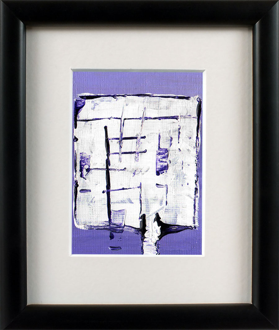 Original Abstract Aceo Painting Purple and White