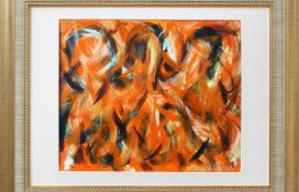 Orange, black and white abstract art original