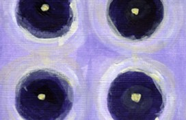 Indigo, purple and lemon abstract art