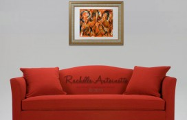Abstract orange art by Rachelle Antoinette