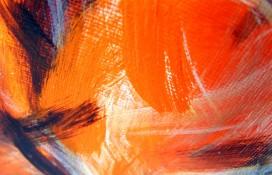 Framed orange and black painting