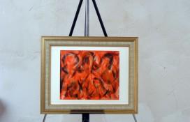 Abstract art in acrylic aorange paint framed