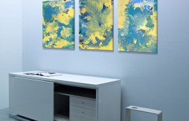 abstract art triptych painting
