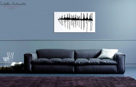 Modern abstract art in black and white on canvas