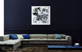 Black & white abstract art on canvas