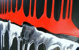 Original Abstract Art in Black, Red and White