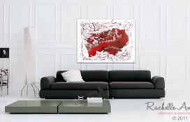 Abstract Oil Painting in Red and Silver Paint