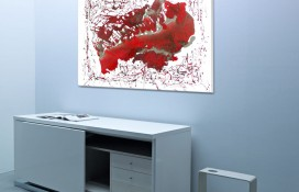 Original Oil on Canvas in Red and Silver Paint