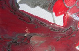 Silver and Red Modern Abstract Art Called Alexandria