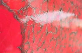 Modern Abstract Art in Red and Silver