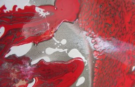 Silver, Red and White Abstract Painting