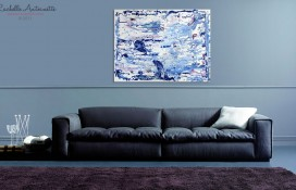 Silver, indigo, turquoise, violet abstract oil art
