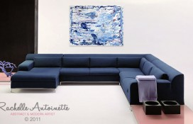 Blue and Purple Abstract Expressionism on Canvas