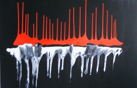 Red , Black and White Abstract Art