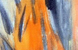 Orange and Black Abstract Art On Canvas