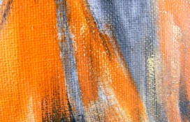 Ariel Acrlic Abstract Painting in Black , White and Orange