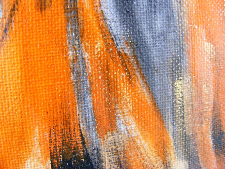 Original Modern Abstract Art Orange Black Acrylic Painting