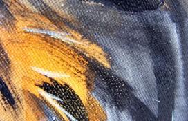Original Modern Art In Black and Orange