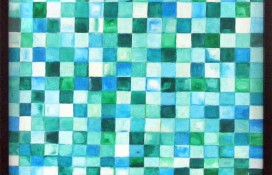 Original Geometric Abstract Art Mesopotamia in Green and Blue