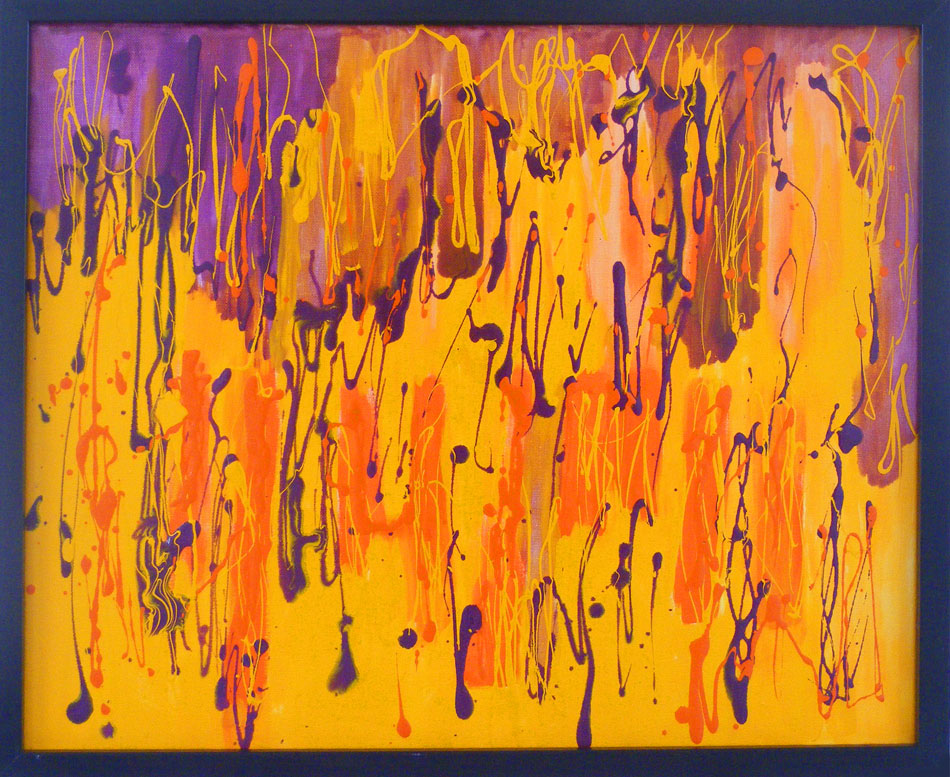 Orange purple and yellow abstract art painting in yorkshire for Purple and yellow painting