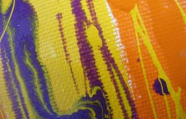 Purple, and Orange Abstract Art On Canvas