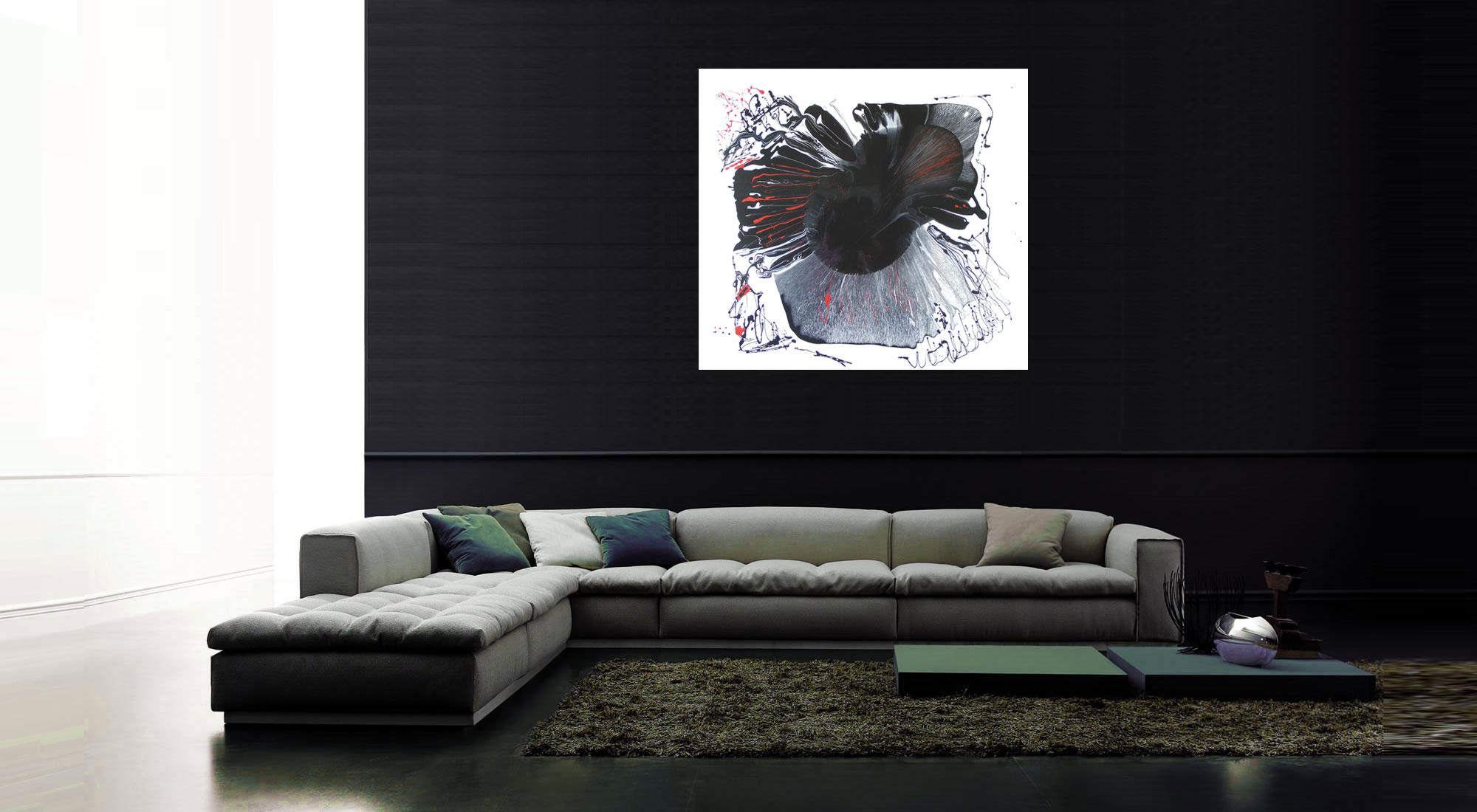 Black white and red abstract painting original modern abstract paintiing for sale