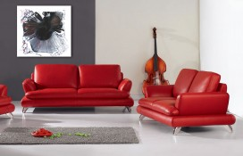 Black, White and Red Abstract Art on Canvas