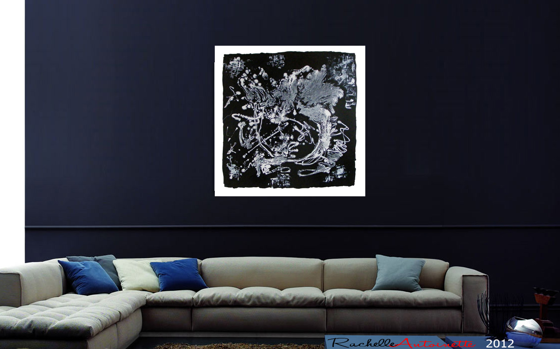 Black And White Modern Abstract Art On Canvas Dragon Lake